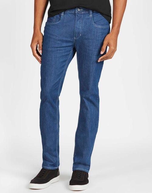 Calca Jeans Regular Estonada Com Detalhe Amassado 5pockets Azul Claro
