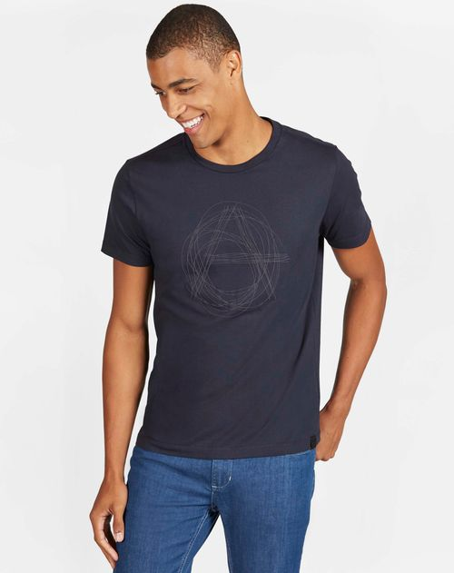 Camiseta Manga Curta Estampada Lettering Malha Marinho