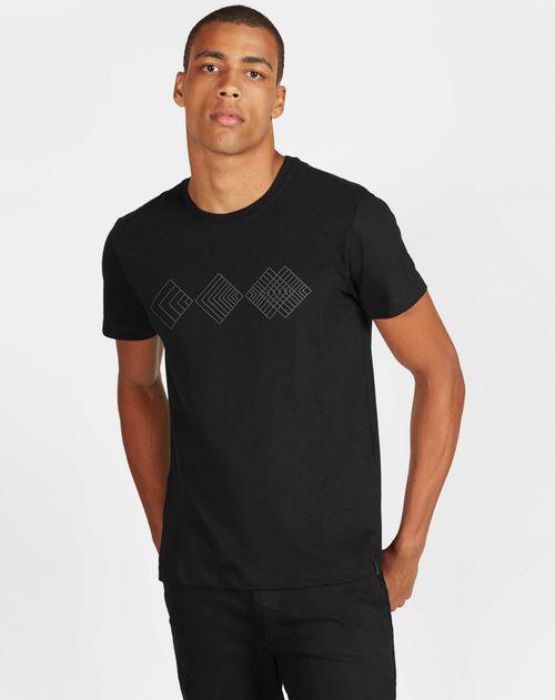 Camiseta Antiviral Estampada Geométrica Manga Curta Preto