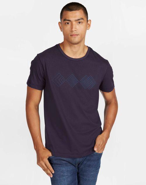 Camiseta Antiviral Estampada Geométrica Manga Curta Marinho