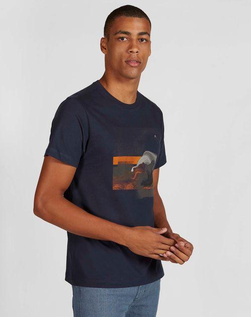 Camiseta Manga Curta Estampada Abstrato Malha Marinho