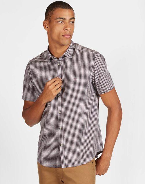 Camisa Xadrez Manga Curta Jeanswear Slim Em Viscose Bordeaux