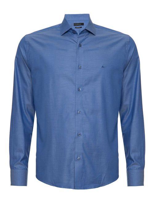 Camisa Manga Longa Algodão Pima Casual Regular Azul