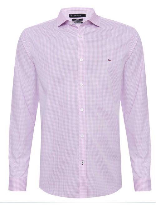 Camisa Manga Longa Slim Algodão Egípcio Micro Xadrez Rosa