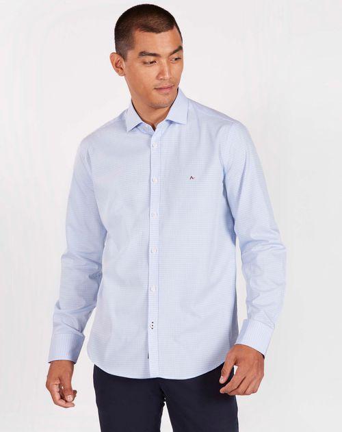 Camisa Manga Longa Slim Algodão Egípcio Micro Xadrez Azul Claro