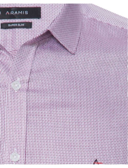 Camisa Manga Longa Casual Super Slim Maquinetada Vinho