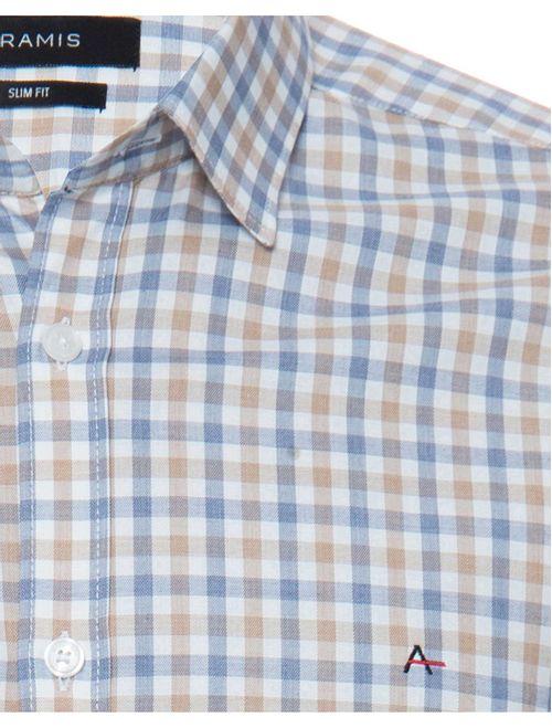 Camisa Xadrez Manga Longa Slim Casual Algodão Egípcio Caqui