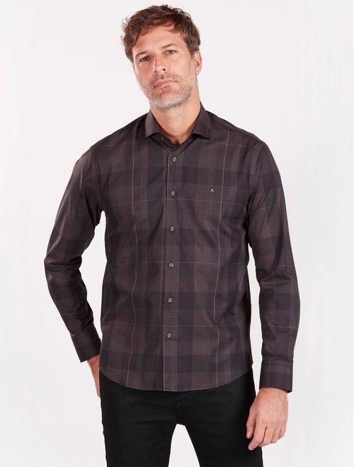 Camisa Xadrez Manga Longa Casual Slim Chumbo