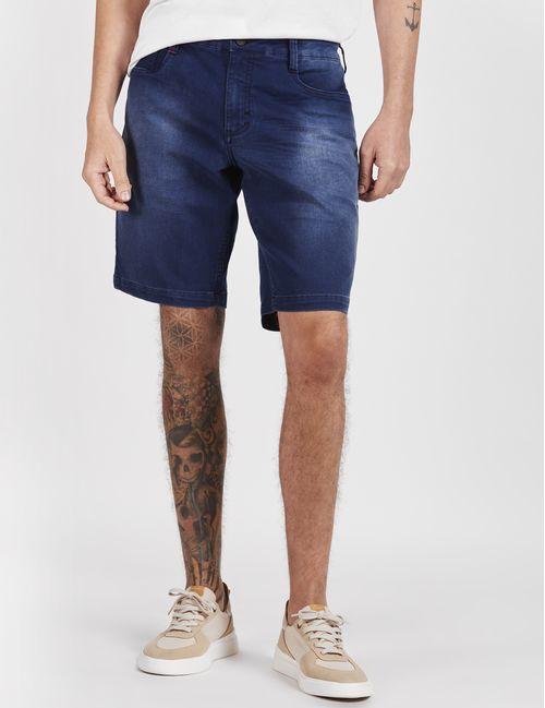 Bermuda Jeans 5 Pockets Stone Bigode Azul Escuro