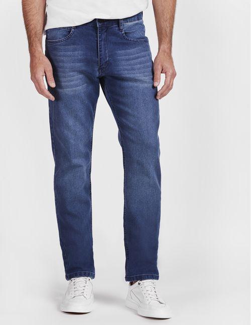 Calca Jeans Regular 5 Pockets Destroyed Azul Medio