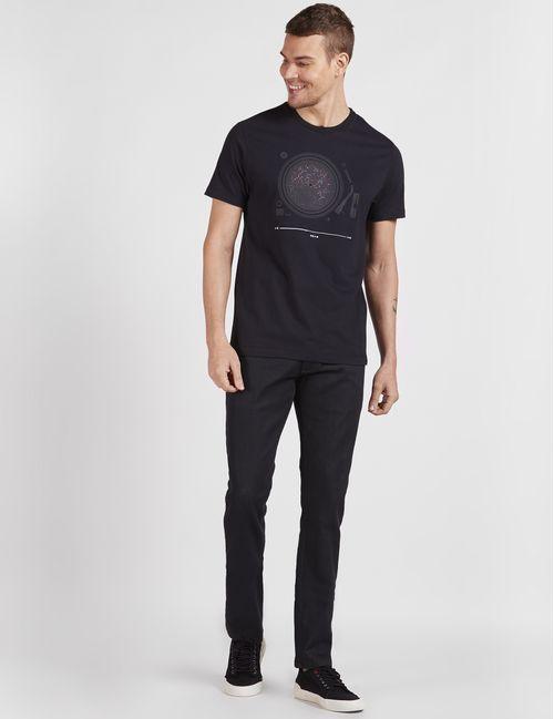 Camiseta Manga Curta Estampa Abstrata Preto