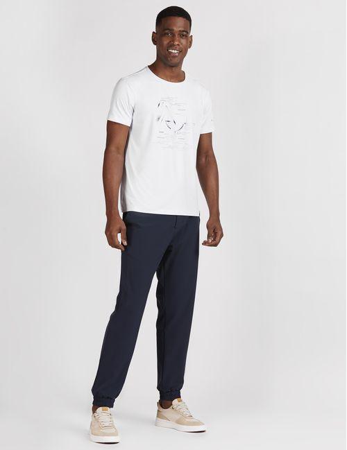 Camiseta Manga Curta De Poliamida Estampada Geométrica Branco
