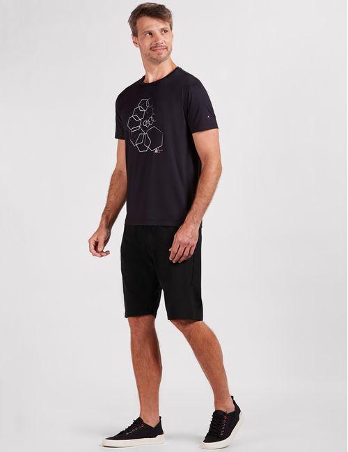 Camiseta Manga Curta Poliamida Estampada Geométrica Preto