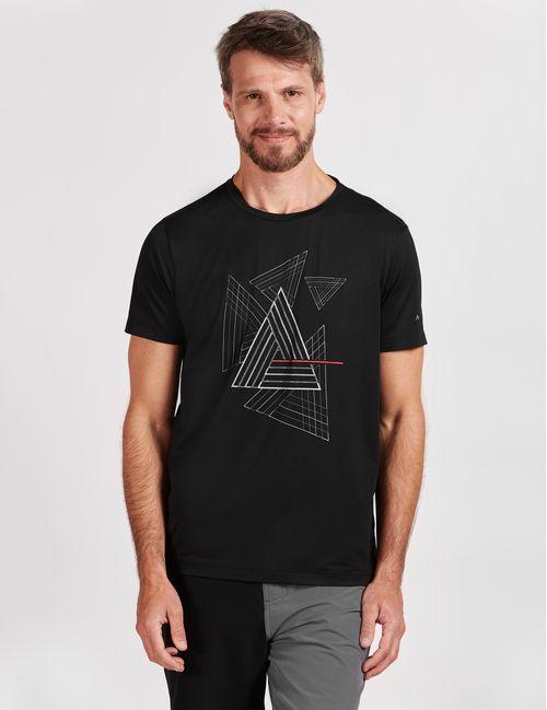 Camiseta Manga Curta Poliamida Estampa Geométrica Preto