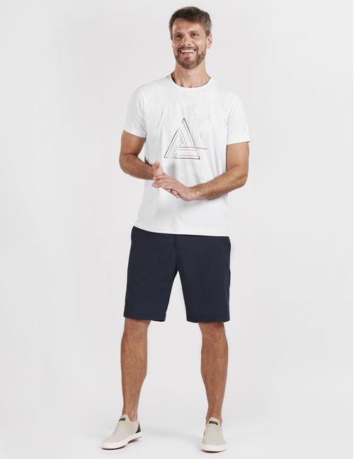 Camiseta Manga Curta Poliamida Estampa Geométrica Branco