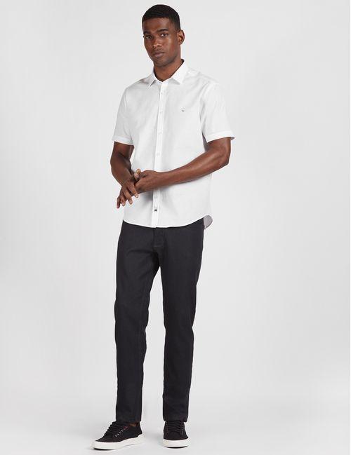 Camisa Manga Curta Night Slim Botonê Branco