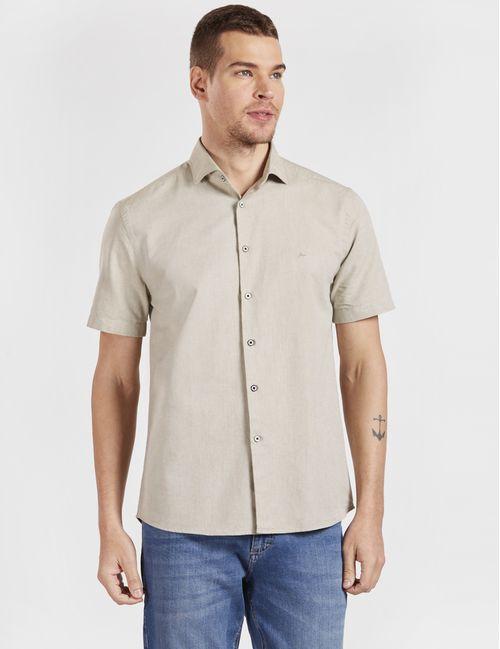 Camisa Manga Curta Jeanswear Slim Oxford Verde