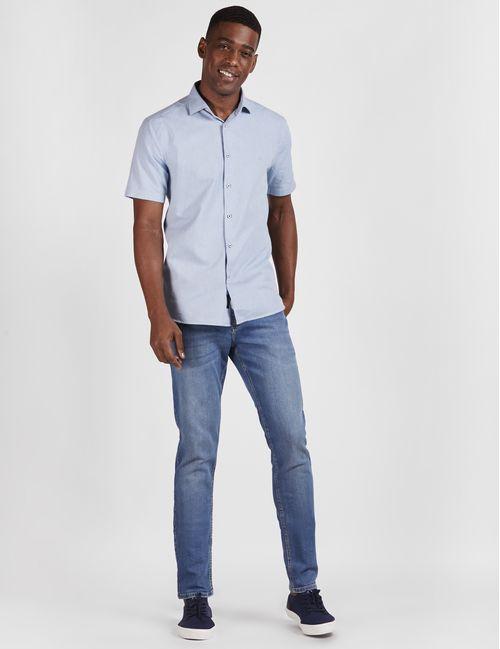 Camisa Manga Curta Jeanswear Slim Oxford Azul Claro