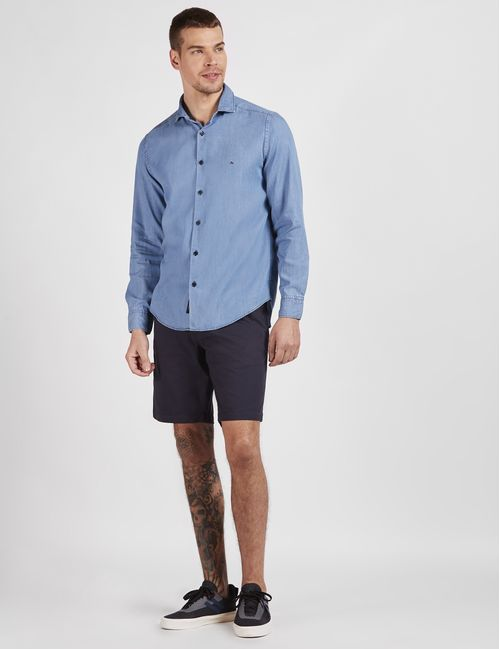 Camisa Manga Longa Jeanswear Em Liocel Azul Claro
