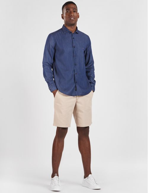 Camisa Manga Longa Jeanswear Em Liocel Marinho