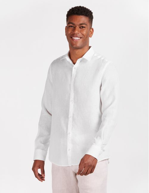 Camisa Manga Longa Jeanswear Slim Linho Irlandês Branco