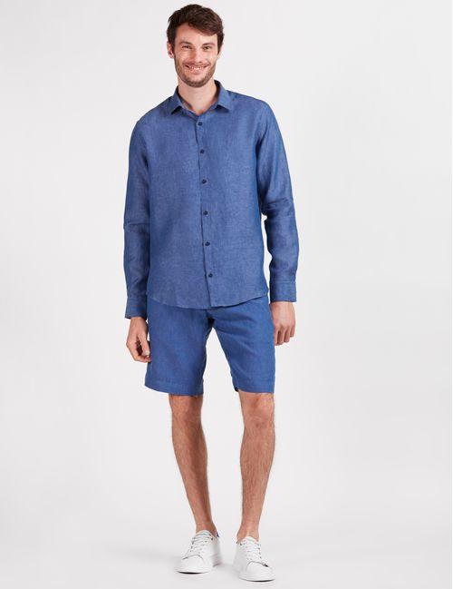 Camisa Manga Longa Jeanswear Slim Linho Irlandês Azul Índigo