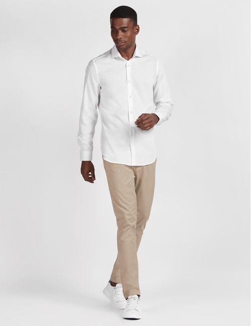 Camisa Manga Longa Social Super Slim Maquinetada Fio Egípcio Branco
