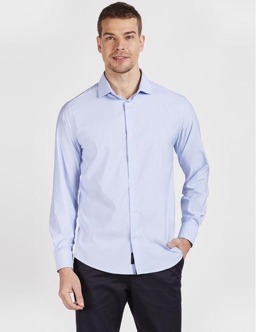 Camisa Manga Longa Casual Xadrez Tech Flex Azul Claro