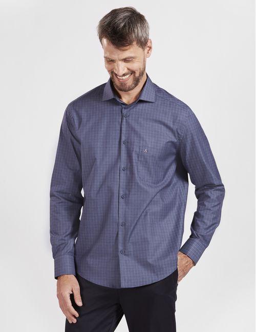 Camisa Manga Longa Casual Fio 60 Xadrez Com Bolso Azul
