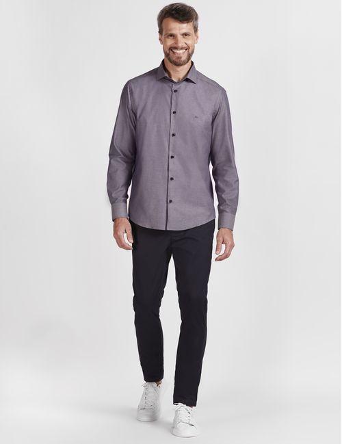 Camisa Manga Longa Casual Em Algodão Cinza