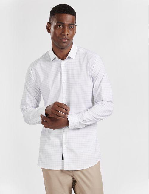 Camisa Casual Super Slim Xadrez Tech Branco