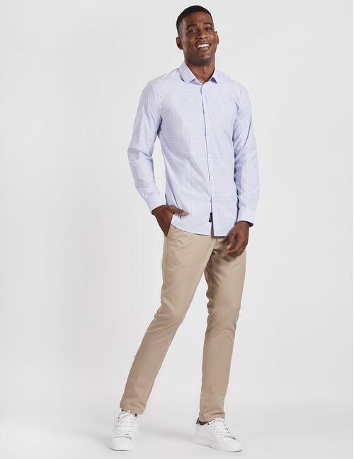 Camisa Manga Longa Casual Super Slim Xadrez Tech Flex  Azul Claro
