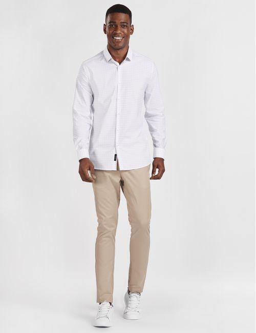 Camisa Casual Super Slim Xadrez Tech Flex Branco
