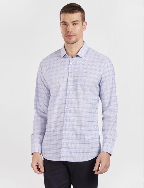 Camisa Manga Longa Casual Super Slim Xadrez Tech Azul