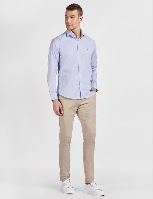 Camisa Manga Longa Casual Slim Micro Xadrez Azul
