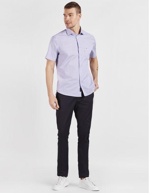 Camisa Manga Curta Casual Micro Xadrez Branco Com Azul