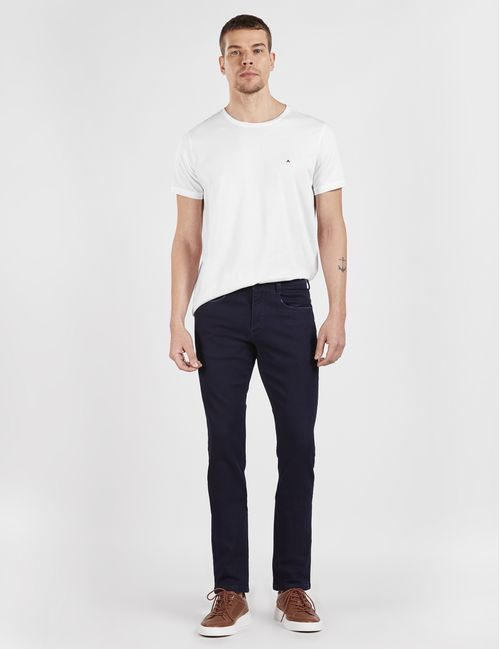 Calca Jeans Slim 5 Pockets Moletom Estonada Azul Escuro