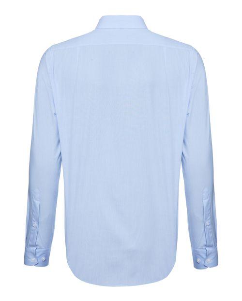 Camisa Manga Longa Social Em Algodão Azul Claro