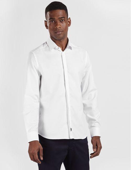 Camisa Manga Longa Night Super Slim Maquinetada Algodão Egípcio Branco