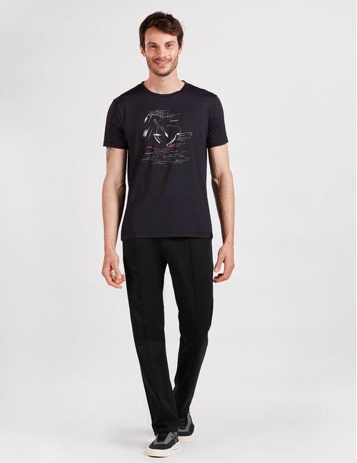 Camiseta Manga Curta De Poliamida Estampada Geométrica Preto